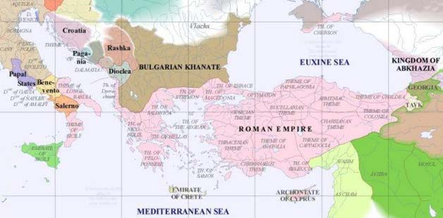 Byzantine Empire about 900 A.D.