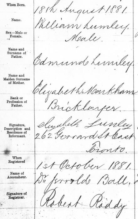 William Lumley Birth Registration August 18, 1881